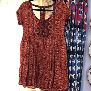Free people cut out back babydoll top tunic dress